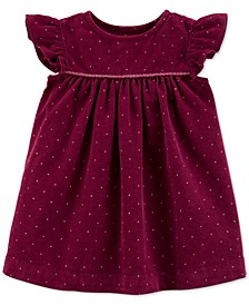 Baby Girls Dot-Print Corduroy Cotton Dress