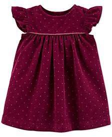 Baby Girls Dot-Print Corduroy Cotton Dress