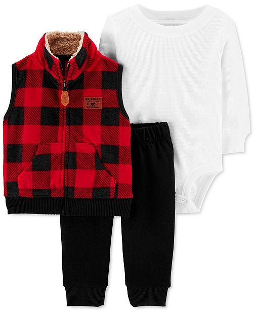 Carter's Baby Boys 3-Pc. Buffalo-Check Fleece Vest, Thermal Bodysuit & Pants Set