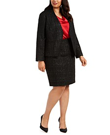 Plus Size Cropped Tweed Jacket, Cowlneck Top & Tweed Pencil Skirt