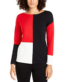 Colorblocked Dropped-Shoulder Top, Created For Macy's