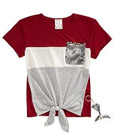 Belle Du Jour Little Girls Flip Sequin Pocket T-Shirt & Mermaid Keychain