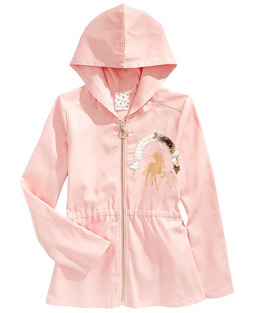 Belle Du Jour Big Girls Cotton Sequined Utility Jacket
