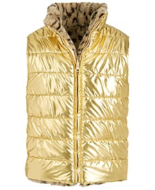 Big Girls Reversible Metallic & Faux-Fur Puffer Vest, Created For Macy's