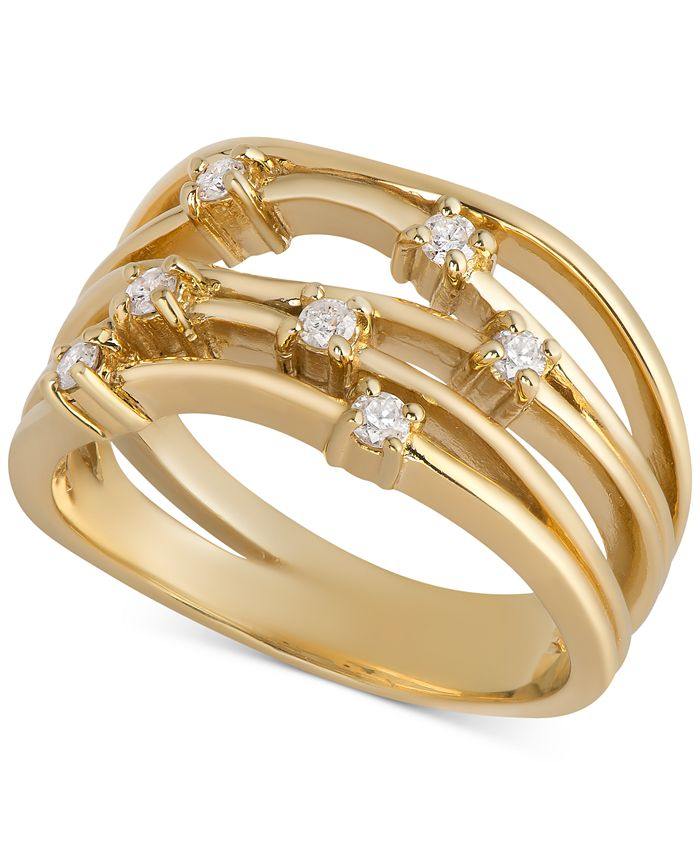 Macy's - Diamond Multi-Row Statement Ring (1/4 ct. t.w.) in 14k Gold-Plated Sterling Silver