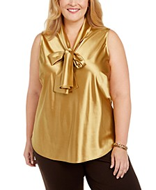 Plus Size Tie-Neck Sleeveless Top