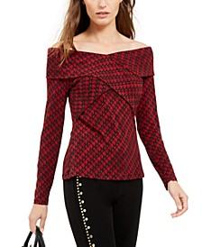 Logo-Print Off-The-Shoulder Top, Created For Macy's