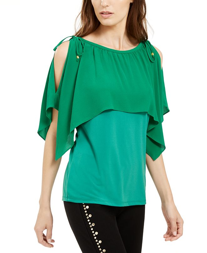 Michael Kors Cold-Shoulder Overlay Top, Created For Macy's