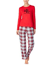 Petite Knit Top & Fleece Pant Pajama Set