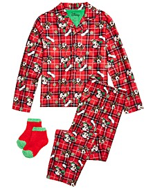 Little & Big Boys 3-Pc. Mickey Mouse Holiday Pajamas & Matching Socks Set