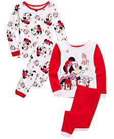 AME Toddler Girls 4-Pc. Cotton Santa Minnie Mouse Pajamas Set