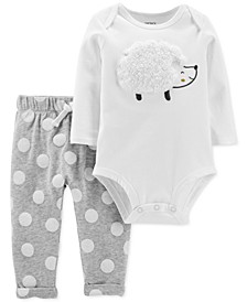Baby Girls 2-Pc. Hedgehog Bodysuit & Dot-Print Pants Set