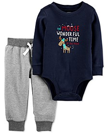 Baby Boys 2-Pc. Cotton Graphic-Print Bodysuit & Striped Jogger Pants Set