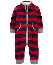 Baby Boys Striped Fleece Coverall