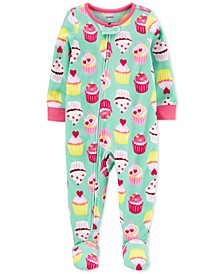 Toddler Girls 1-Pc. Cupcake Fleece Footie Pajamas