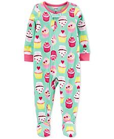 Toddler Girls 1-Pc. Cupcake Fleece Footie Pajamas