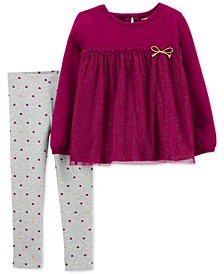 Baby Girls 2-Pc. Glitter Tulle Tunic & Heart-Print Leggings Set