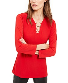 INC O-Ring V-Neck Top, Created for Macy's