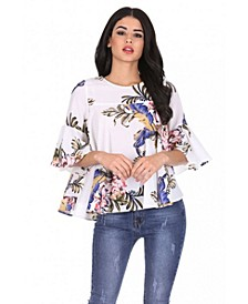 Women's Floral Fla Sleeves Top