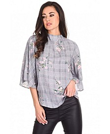 Women's Checked Floral Print Top
