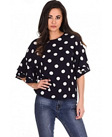 Women's Polka Dot Frill Sleeve Top