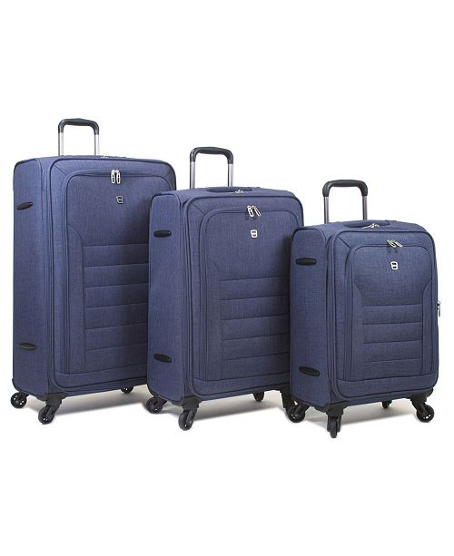 Dejuno Noir Lightweight 3-Pc. Soft Side Spinner Luggage Set with Computer Compartment
