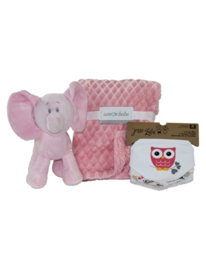 3 Stories Trading Amor Bebe Plush Elephant Baby Blanket and Bibs Gift Set, 5 Piece