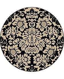 "CLOSEOUT! 1717/1226/ABSO-BLACK Pesaro Black 5'3"" x 5'3"" Round Area Rug"