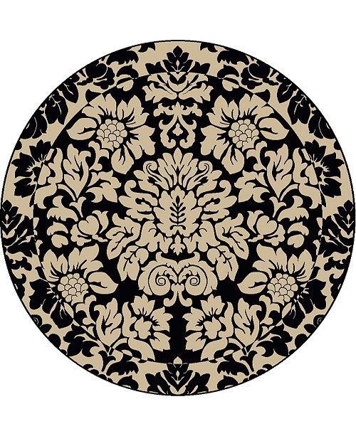 "KM Home CLOSEOUT! 1717/1226/ABSO-BLACK Pesaro Black 5'3"" x 5'3"" Round Area Rug"