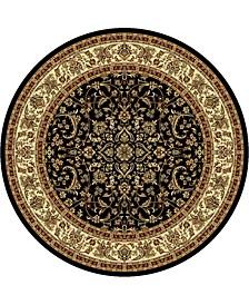 "CLOSEOUT! 1318/1526/BLACK Navelli Black 5'3"" x 5'3"" Round Area Rug"