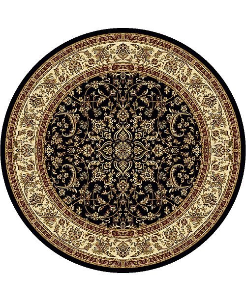 "KM Home CLOSEOUT! 1318/1526/BLACK Navelli Black 5'3"" x 5'3"" Round Area Rug"