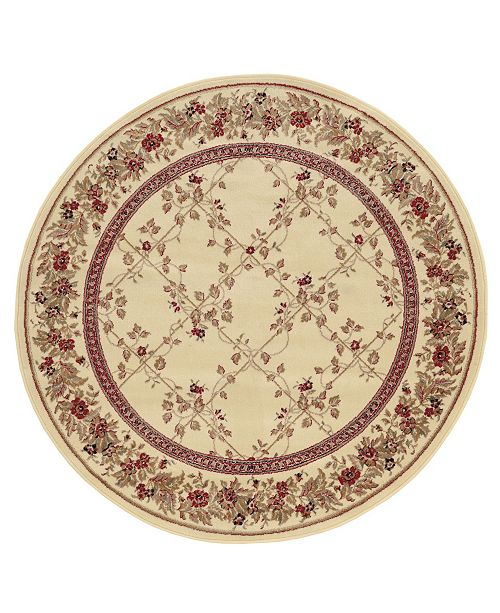 "KM Home CLOSEOUT! 1590/2006/IVORY Pesaro Ivory 5'3"" x 5'3"" Round Area Rug"