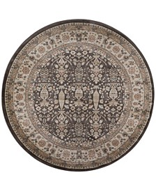 "CLOSEOUT! 3812/1014/BROWN Gerola Brown 5'3"" x 5'3"" Round Area Rug"