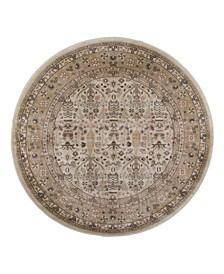 """CLOSEOUT! 3812/1024/CREAM Gerola Ivory/ Cream 5'3"""" x 5'3"""" Round Area Rug"""