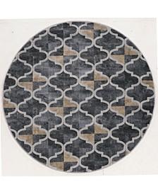 "CLOSEOUT! 3793/1024/Gray Imperia Gray 5'3"" x 5'3"" Round Area Rug"