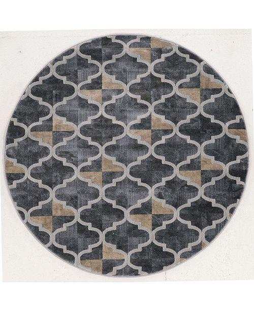 "KM Home CLOSEOUT! 3793/1024/Gray Imperia Gray 5'3"" x 5'3"" Round Area Rug"