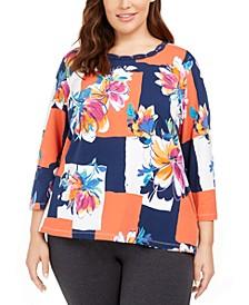 Plus Size Road Trip Colorblocked Floral Knit Top