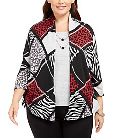 Plus Size Well Red Animal-Print Patchwork Layered-Look Necklace Top