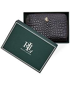 Small Zip Around Croc Embossed Boxed Leather Wallet