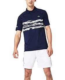 Men's Performance Stretch Novak Djokovic Stripe Raglan Polo Shirt