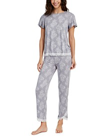 Printed Lace-Trim Top & Capri Pajama Pants Set, Created for Macy's