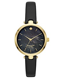 Women's Holland Black Leather Strap Watch 34mm