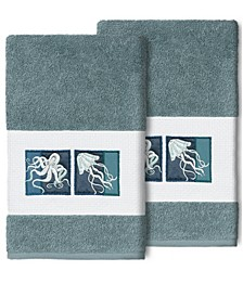 100% Turkish Cotton Ava 2-Pc. Embellished Hand Towel Set