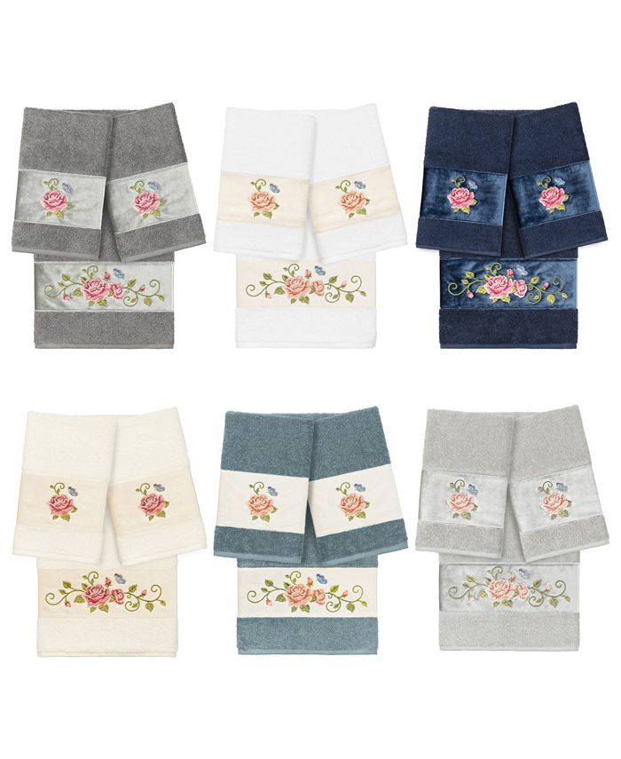 Linum Home - 100% Turkish Cotton Rebecca 3-Pc. Embellished Towel Set