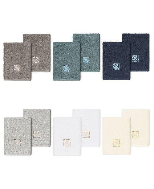 Linum Home 100% Turkish Cotton Vivian 2-Pc. Embellished Washcloth Set
