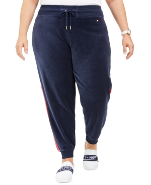 TOMMY HILFIGER SPORT PLUS SIZE VELOUR VARSITY-PANEL JOGGER PANTS