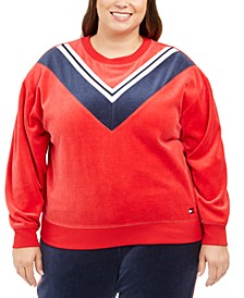 Plus Size Velour Varsity Chevron Sweatshirt