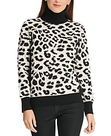 Colorblocked Leopard-Look Turtleneck Sweater