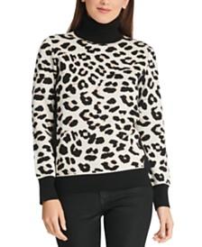DKNY Colorblocked Leopard-Look Turtleneck Sweater
