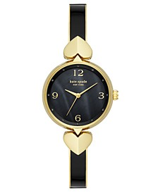 Women's Hollis Gold-Tone Stainless Steel & Black Enamel Bangle Bracelet Watch 30mm